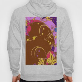 Modern Purple-Coffee Color Fantasy Scrolls & Flowers Ferns Art Hoody