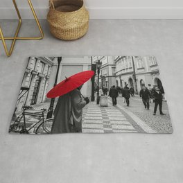 The Red Umbrella cityscape black and white photograph / art photography Rug