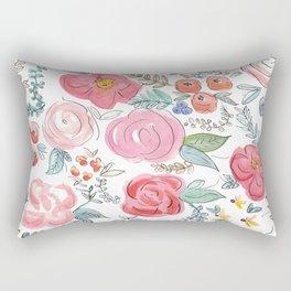 Watercolor Floral Print Rectangular Pillow