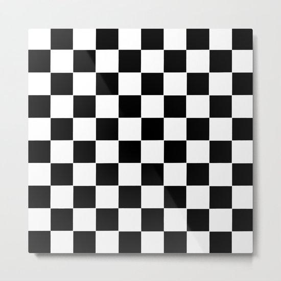 Checker Cross Squares Black & White Metal Print