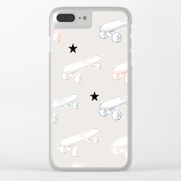 Colorful skateboard print with black stars Clear iPhone Case