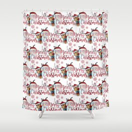 Watercolor Magical Santa Claus and Rudolf the The Red Nosed Reindeer Shower Curtain