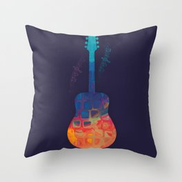 Guitar Color Throw Pillow