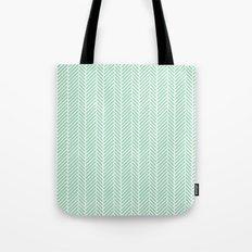 Herringbone Mint Inverse Tote Bag