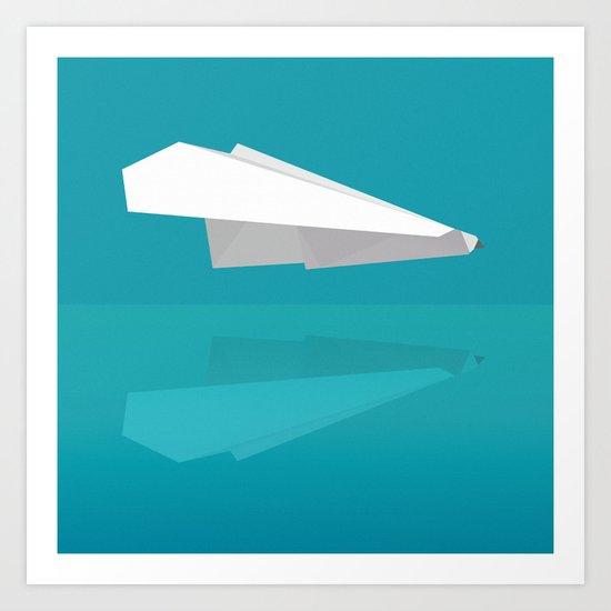 PAPER PLANE REFLECTION Art Print