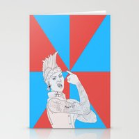 punk rock Stationery Cards featuring punk rock rosie. by snak3oil.
