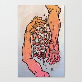swollen hands make light work Canvas Print