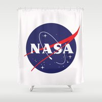 nasa Shower Curtains featuring I Need My Space NASA by NoHo