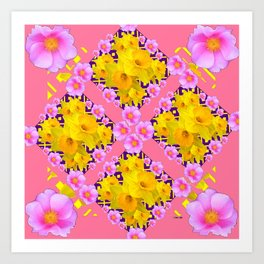 Coral Color Yellow Daffodils & Roses Pattern Art Art Print