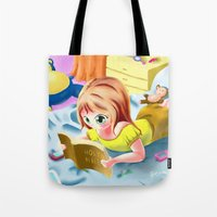 bible Tote Bags featuring Girl Reading the Bible by Bemmygail