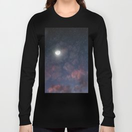 Glowing Moon on the night sky through pink clouds Long Sleeve T-shirt