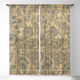 Yellow chrysanthemum flowers and orange bettles Sheer Curtain