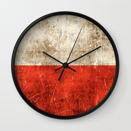 Vintage Aged and Scratched Polish Flag Wall Clock