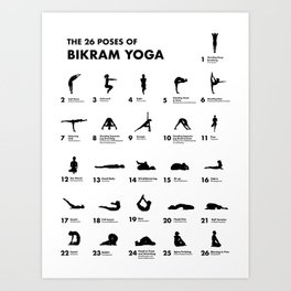 The 26 Poses Of Bikram Yoga Art Print