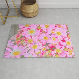 pink daisy in bloom in spring Rug