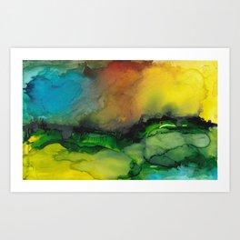 Sunset over a valley Art Print