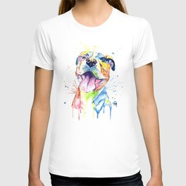 Pit Bull, Pitbull Watercolor Painting - The Softer Side T-shirt