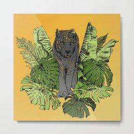 Tiger, Tropic Plants Metal Print