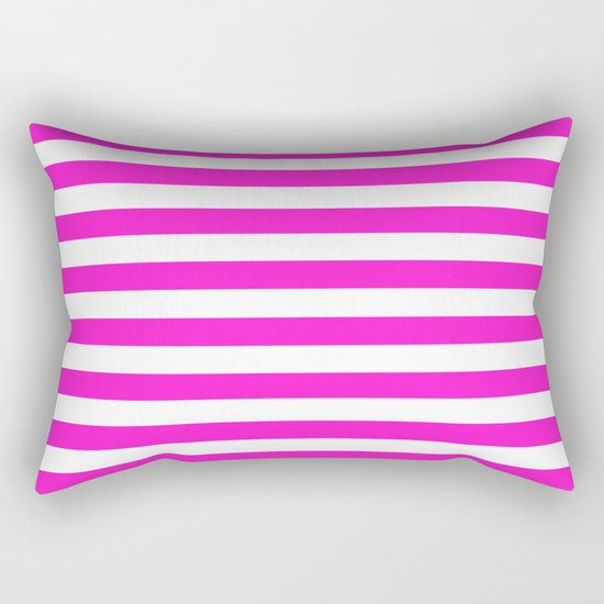 Horizontal Stripes (Hot Magenta/White) Rectangular Pillow