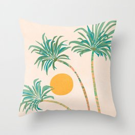 SoCal Palms / Tropical Illustration Throw Pillow