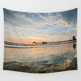 Huntington Beach Pier Sunset / Clouds & Reflections Wall Tapestry