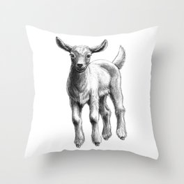 White Goat Baby SK133 Throw Pillow