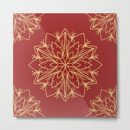 Golden Snowflake Metal Print