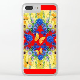 RED GARDEN  BLUE FLOWERS YELLOW BUTTERFLIES Clear iPhone Case