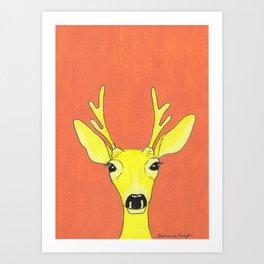Yellow Deer Art Print
