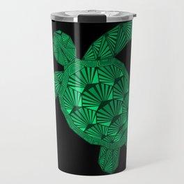 Art Deco Turtle on Black Travel Mug