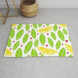 Lemon Slices And Vibrant Leaves Graphic Design Pattern Rug