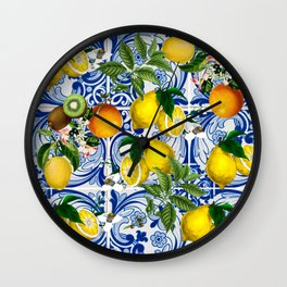Mediterranean Lemon on Blue Ceramic Tiles Wall Clock
