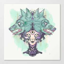 VooDoo Priestess Witch With Third Eye And Wolves Canvas Print