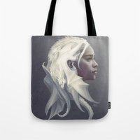 hair Tote Bags featuring Mother of Dragons by Artgerm™
