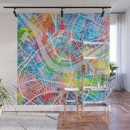 dresden map watercolor Wall Mural