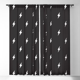 Lightning Bolt Pattern Black & White Blackout Curtain