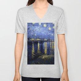 "Vincent Van Gogh ""Starry Night Over the Rhone"" Unisex V-Neck"