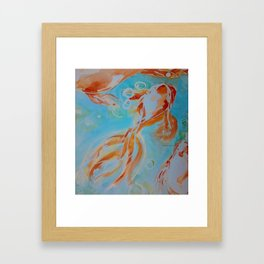 GoldFish Bubbles 1ne watercolor by CheyAnne Sexton Framed Art Print