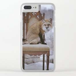 Fox on a Throne Clear iPhone Case