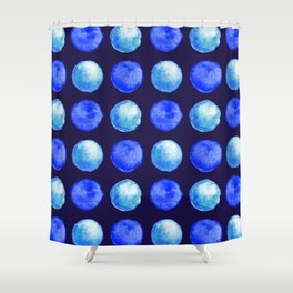 Winter Blue Watercolor Large Dots Pattern Shower Curtain