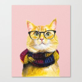 Bob the cat with glasses Canvas Print