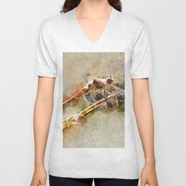 "Dragonfly ""Sympetrum striolatum"" - watercolor Unisex V-Neck"