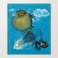 baloon Canvas Prints featuring pufferfish baloon by MR. VELA