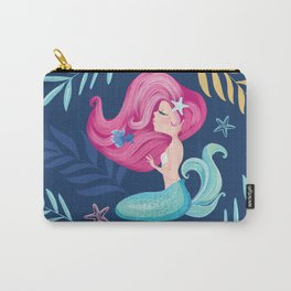 Pretty mermaid design with flowers. Carry-All Pouch