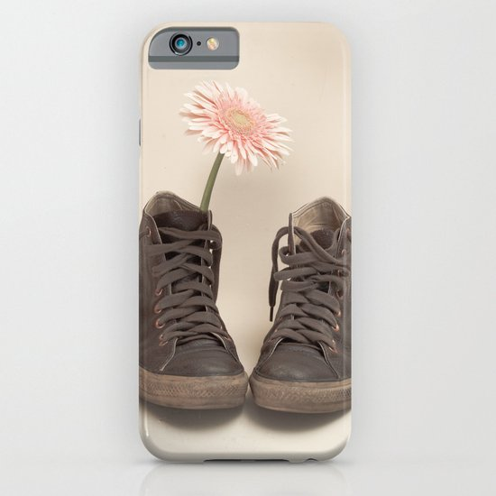 Brown Converse Boots and Pink Flower (Retro Still Life Photography)  iPhone & iPod Case