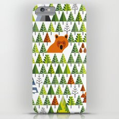 Barnål Bjørn - Pine Needle Bear, Nordic tree, forest, wood, mountain pattern Slim Case iPhone 6 Plus