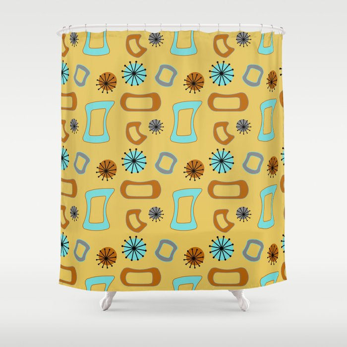 Mid Century Modern I In Mustard Yellow Shower Curtain