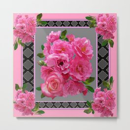 VICTORIAN STYLE CLUSTERED PINK ROSES ART Metal Print