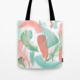 Peach and Turquoise Feathers Tote Bag