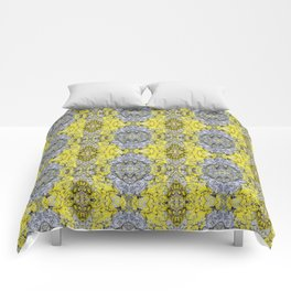 Yellow and Grey Abstract Pattern Comforters